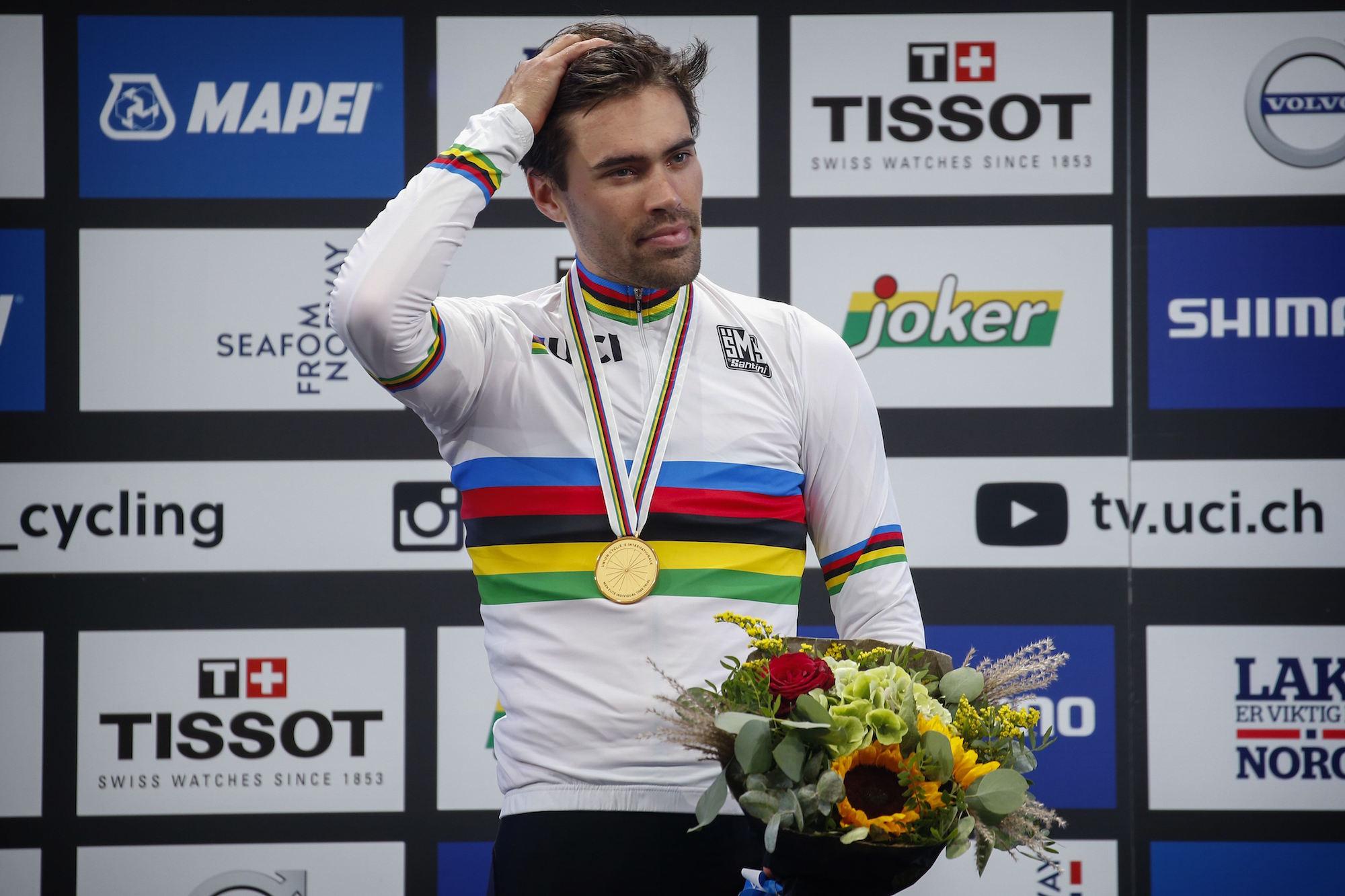 Tom Dumoulin sul podio del Mondiale a cronometro professionisti (foto Cor Vos)