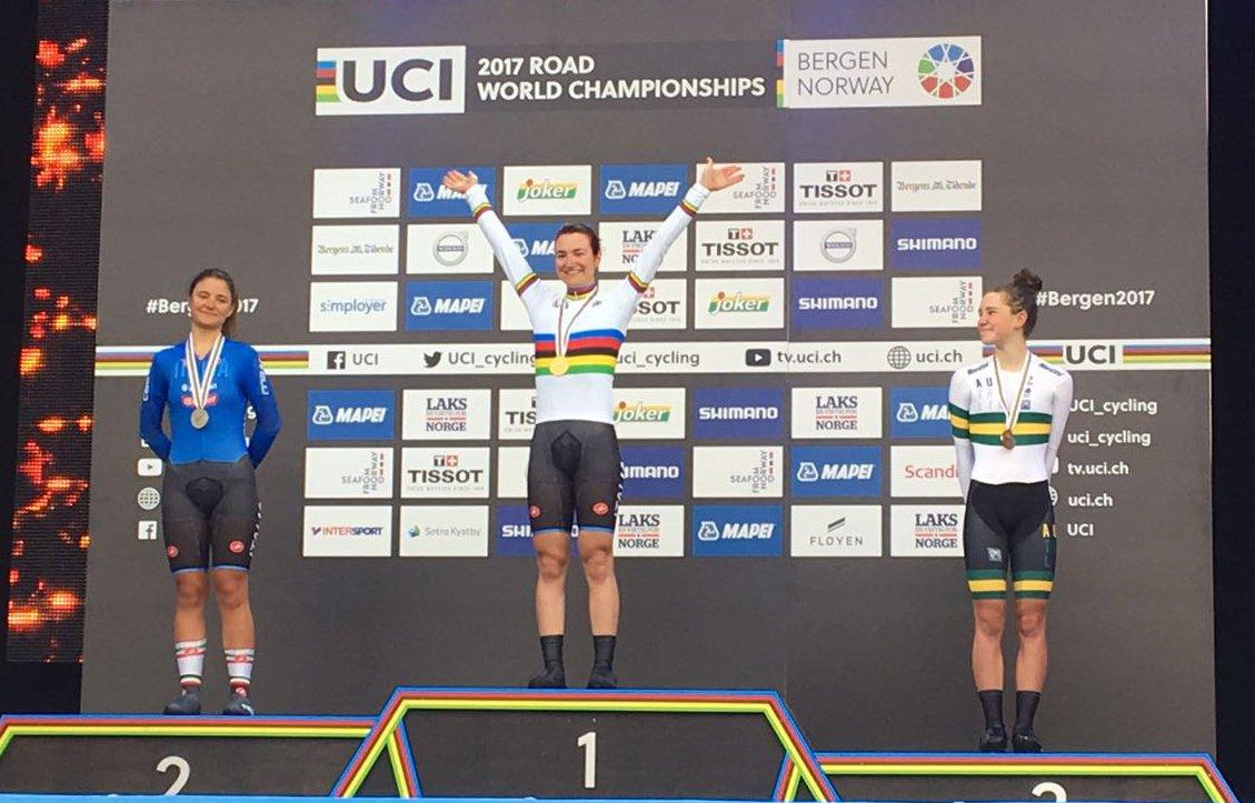 Elena Pirrone è campionessa del mondo a cronometro Donne Junior