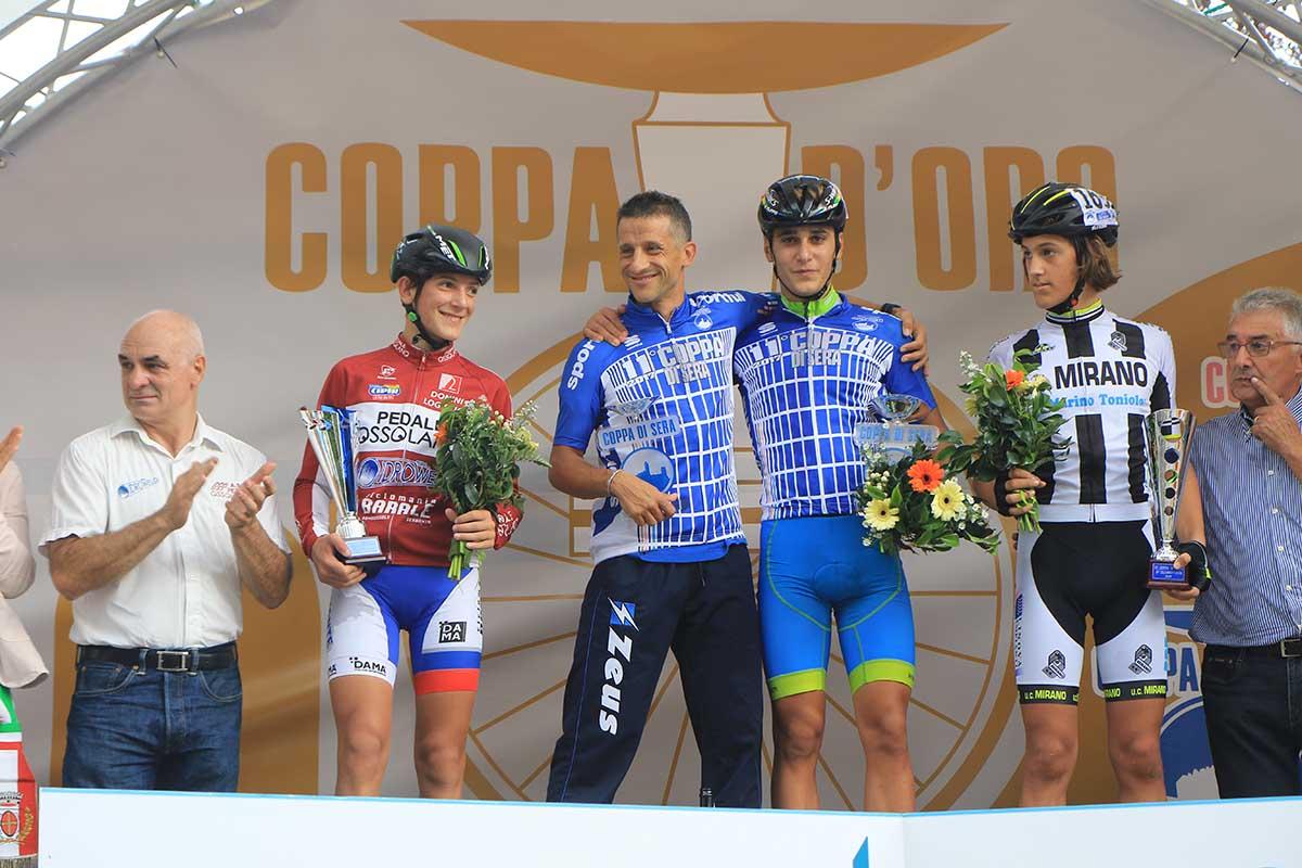 Il podio della Coppa di Sera Esordienti 1° anno 2017