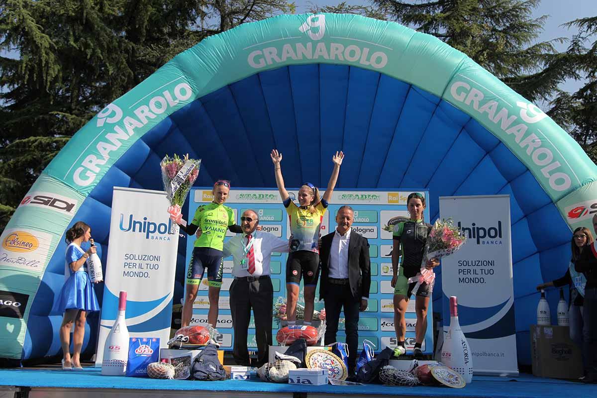 Il podio del Giro dell'Emilia femminile 2017