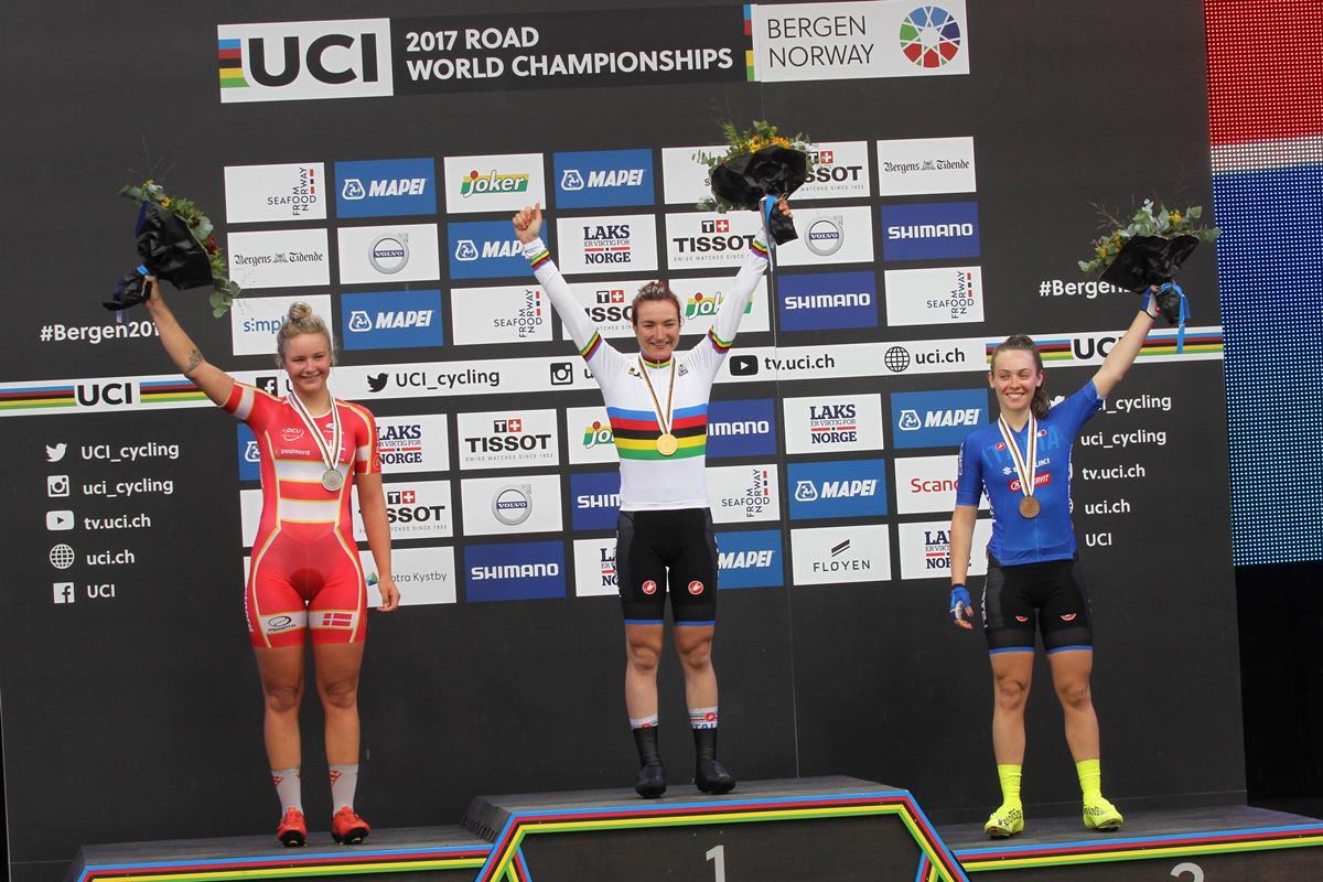 Il podio del Mondiale Donne Junior a Bergen vinto da Elena Pirrone