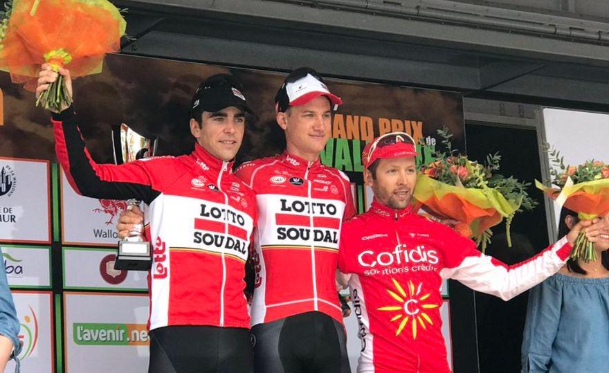 Il podio del Gp de Wallonie 2017 vinto da Tim Wellens