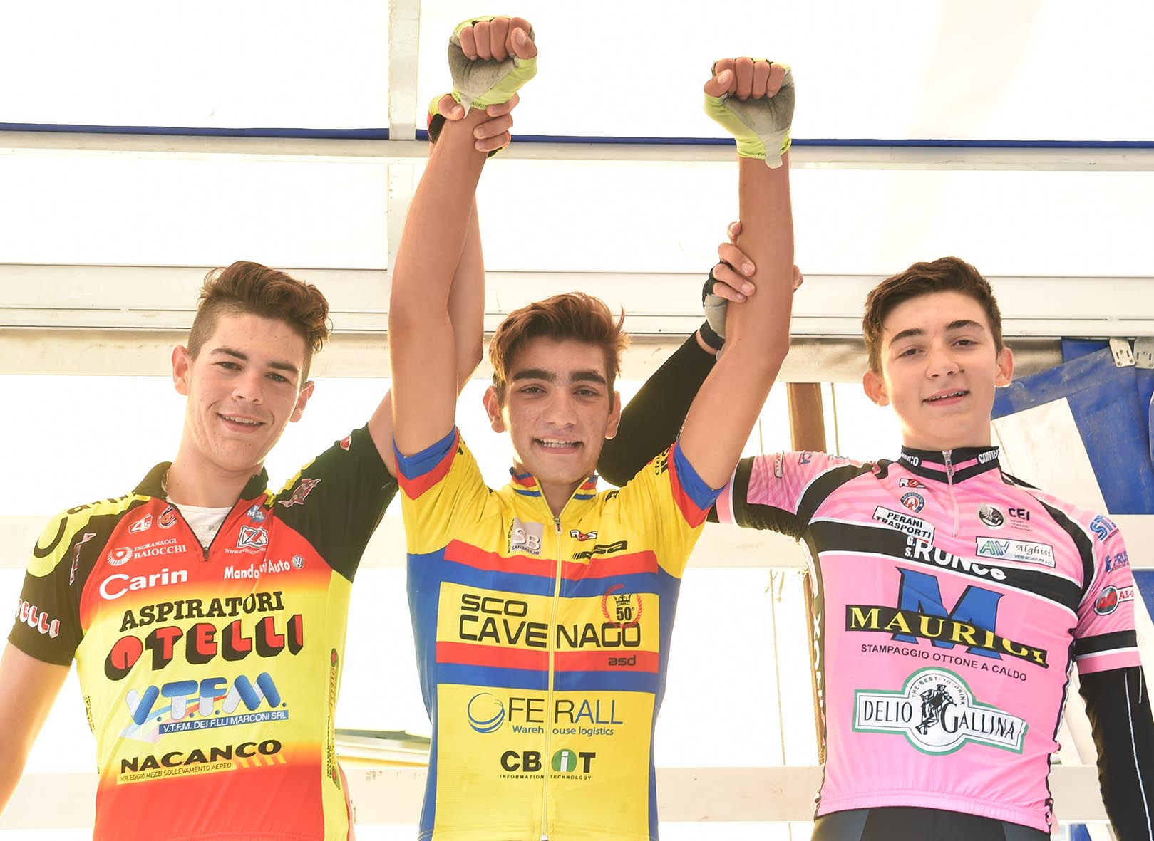 Il podio della gara Allievi di Concesio vinta da Andrea Piras