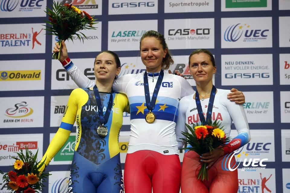 Il podio dell'Europeo Scratch femminile