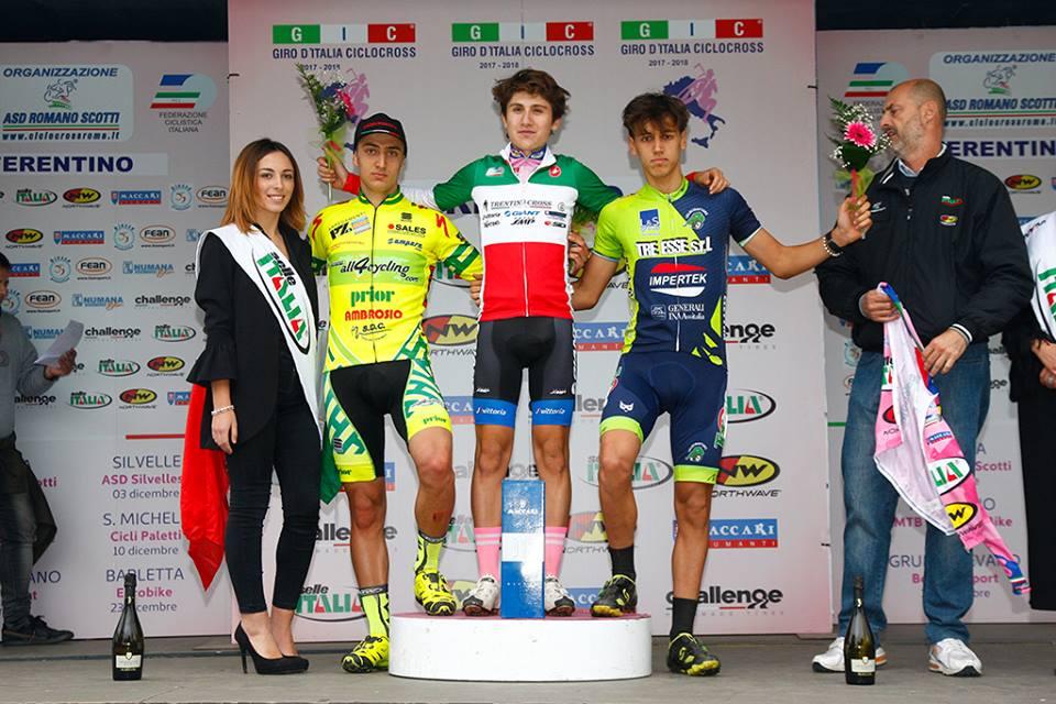 Il podio della gara Juniores di Ferentino vinta da Filippo Fontana