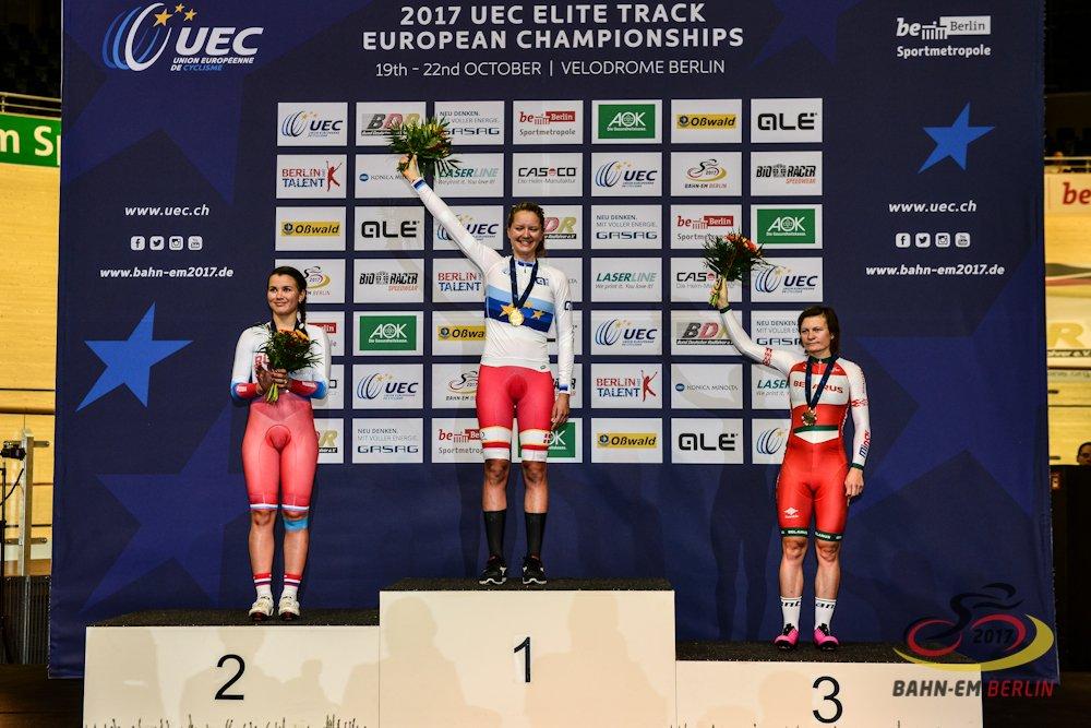 Il podio del Campionato Europeo Corsa a punti vinto da Trine Schmidt