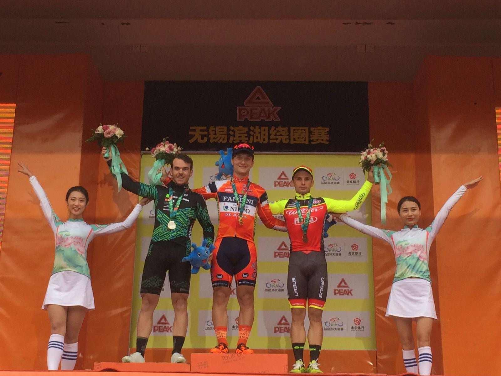 Il podio della prima tappa del Tour of Taihu Lake