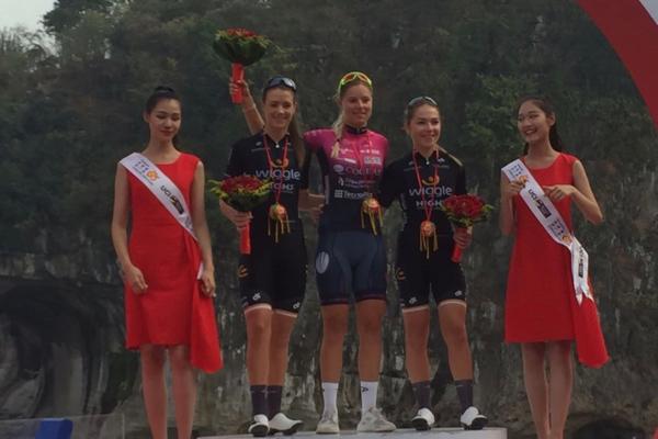 Il podio del Tour of Guangxi Women's Elite World Challenge vinto da Maria Vittoria Sperotto