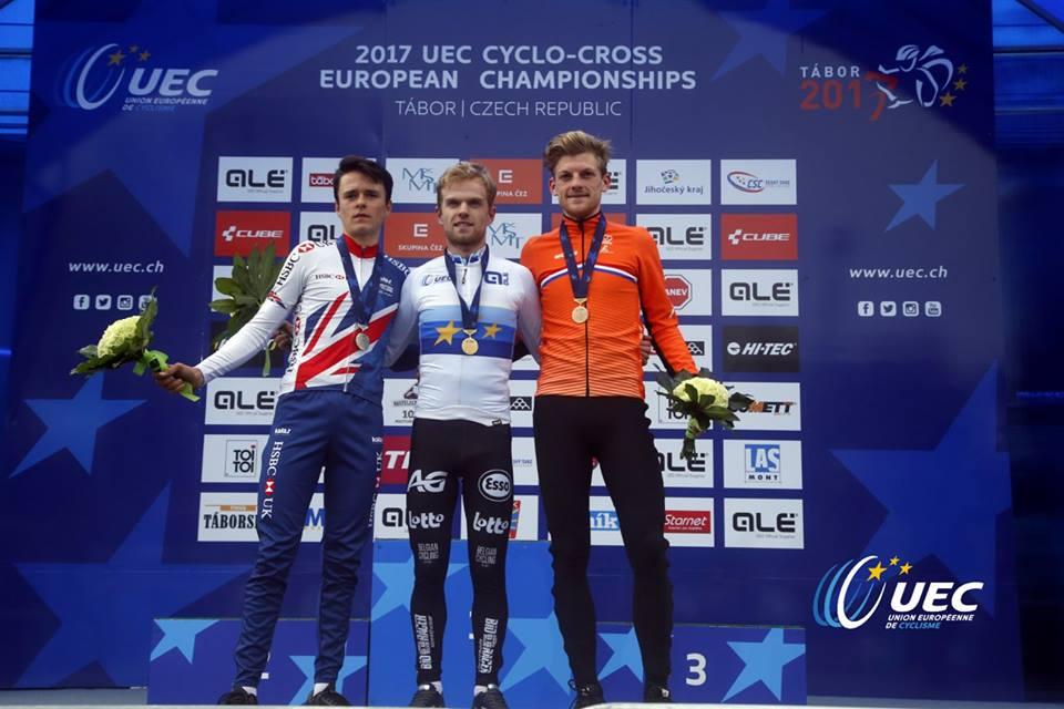 Il podio del Campionato Europeo ciclocross U23