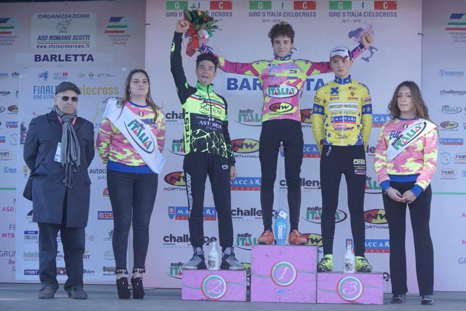 Il podio Allievi dell'ultima prova del Giro d'Italia Ciclocross a Barletta