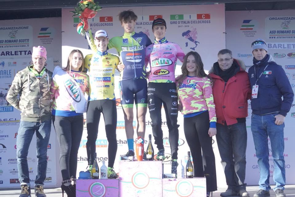 Il podio Juniores dell'ultima prova del Giro d'Italia Ciclocross a Barletta