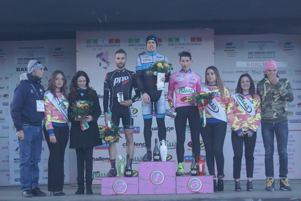 Il podio Open maschile dell'ultima prova del Giro d'Italia Ciclocross