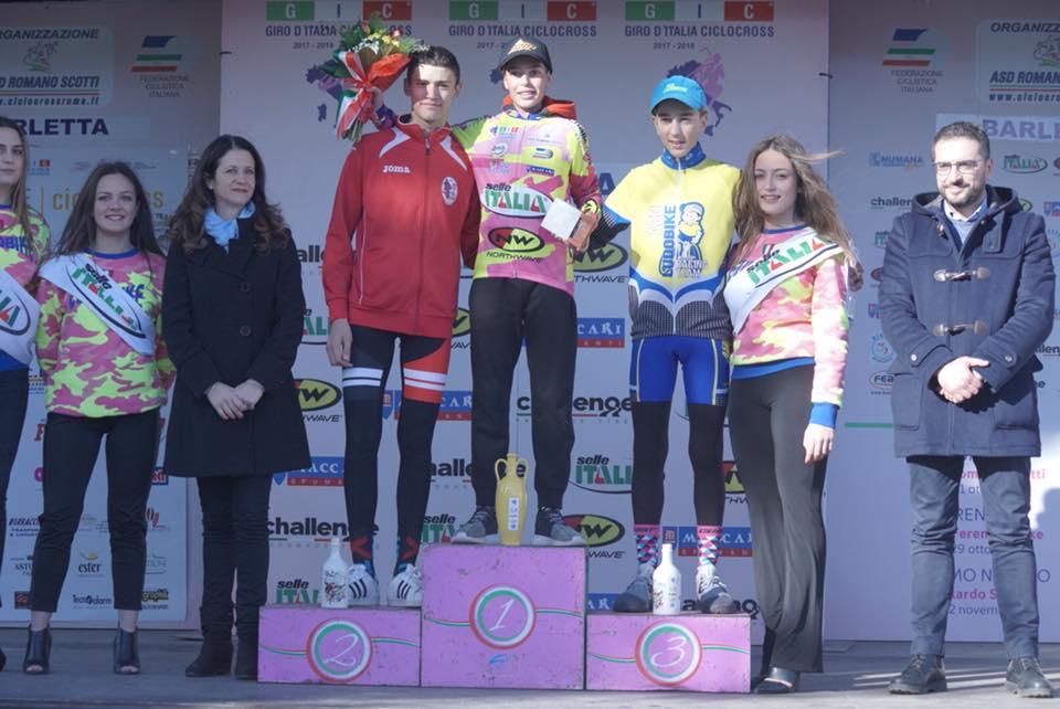 Il podio Esordienti dell'ultima prova del Giro d'Italia Ciclocross a Barletta