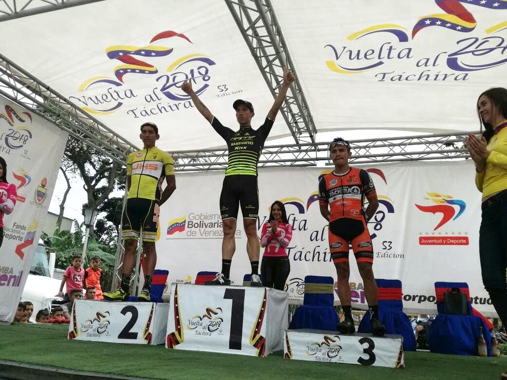 Il podio dell'ottava tappa della Vuelta al Tachira 2018
