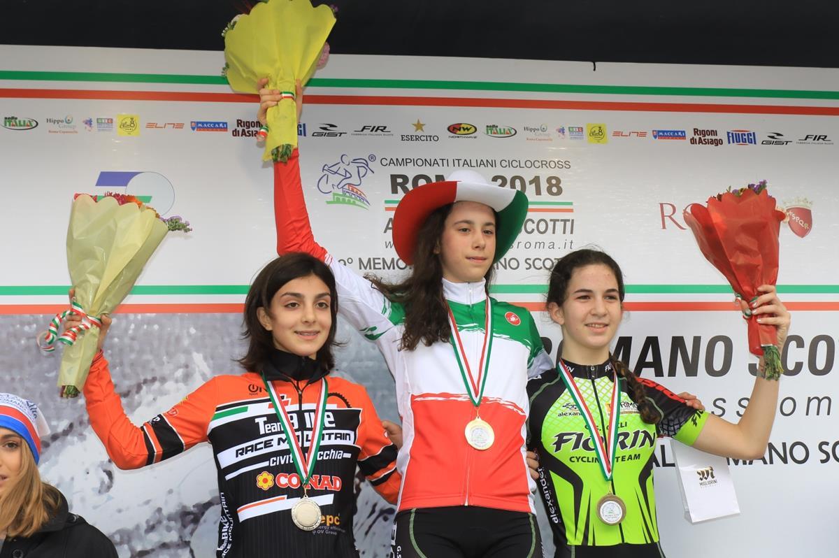 Il podio del Campionato Italiano Ciclocross Donne Esordienti 1° anno