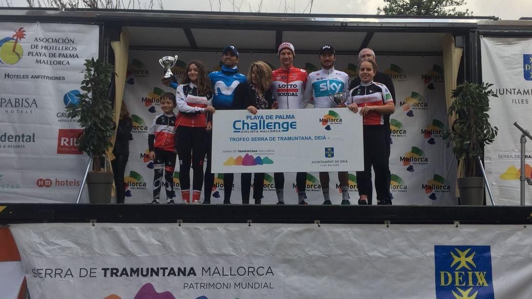 Il podio del Trofeo Serra de Tramuntana 2018 vinto da Tim Wellens