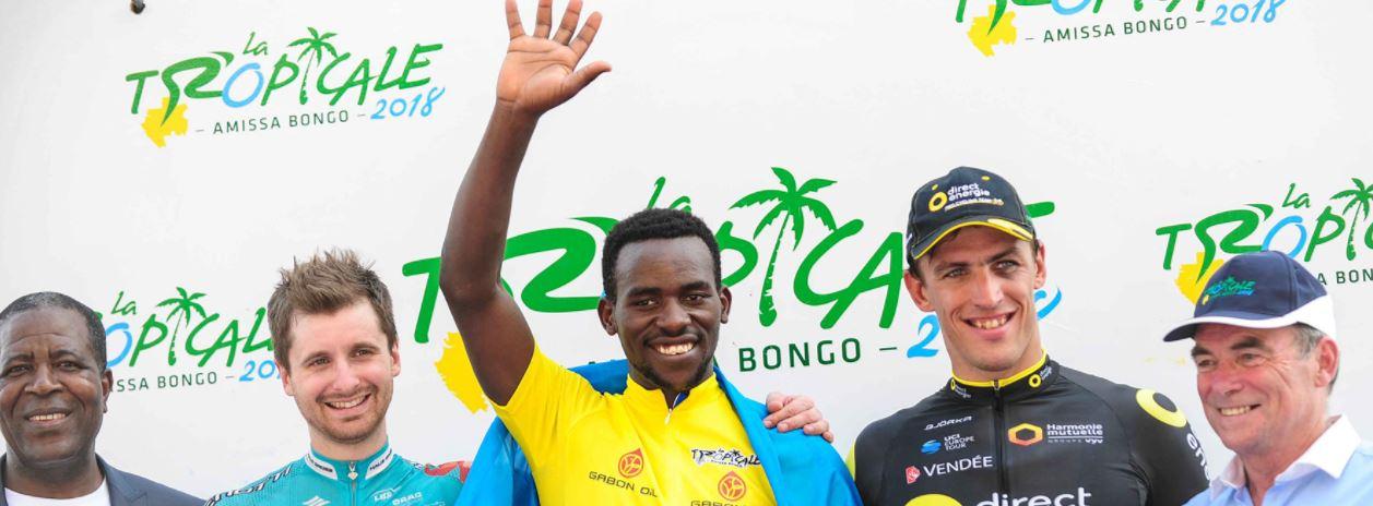 Il podio finale di La Tropicale Amissa Bongo 2018 vinta da Joseph Areruya