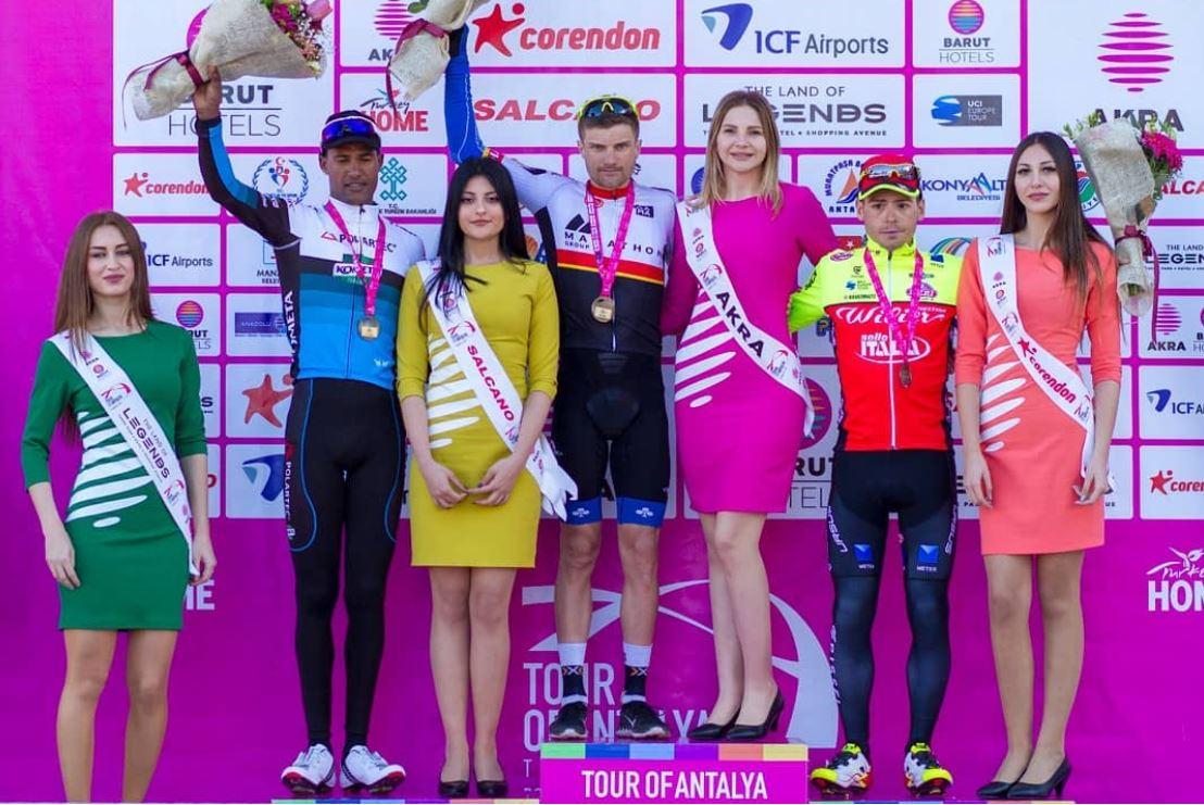 Il podio della terza tappa del Tour of Antalya