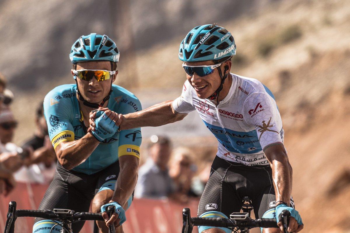 L'arrivo di Miguel Angel Lopez e Alexey Lutsenko alla Green Mountain