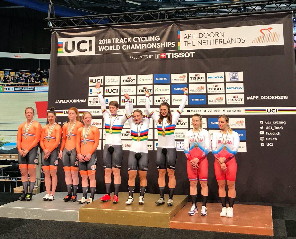 Il podio del Mondiale Velocità a squadre femminile