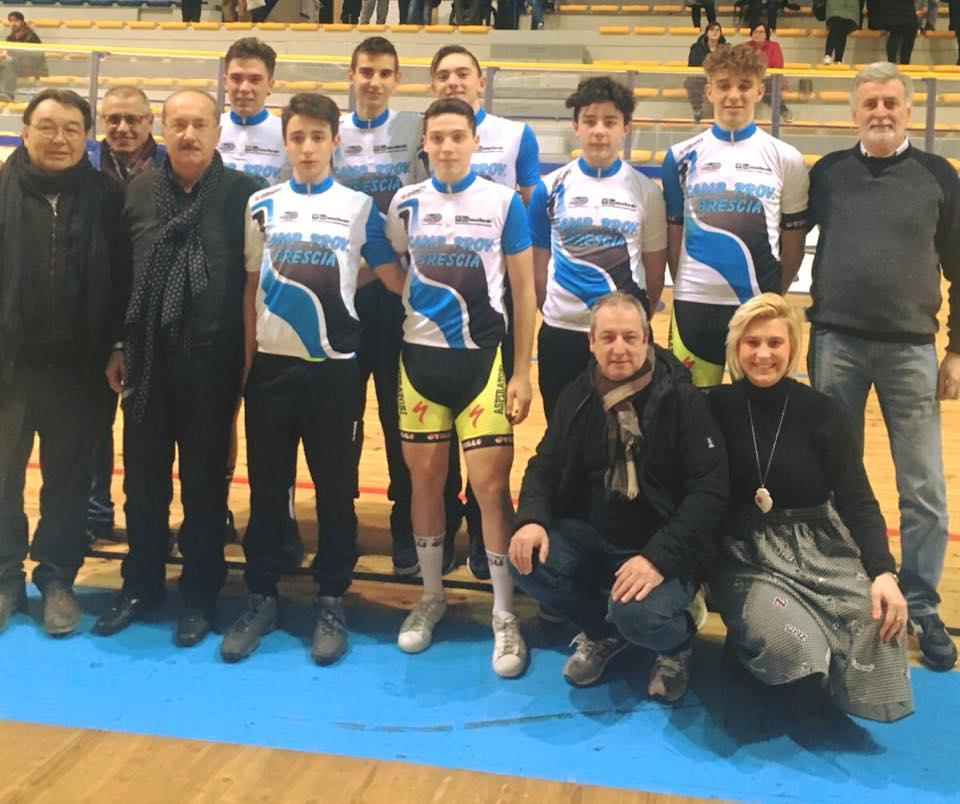 Tutti i campioni bresciani pista laureati ieri a Montichiari