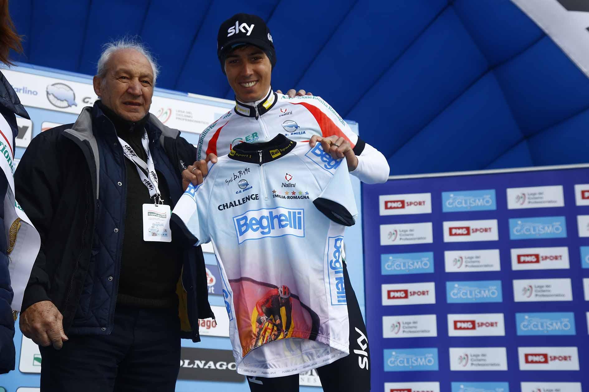 Adriano Amici con Diego Rosa, vincitore della Settimana Coppi e Bartali 2018