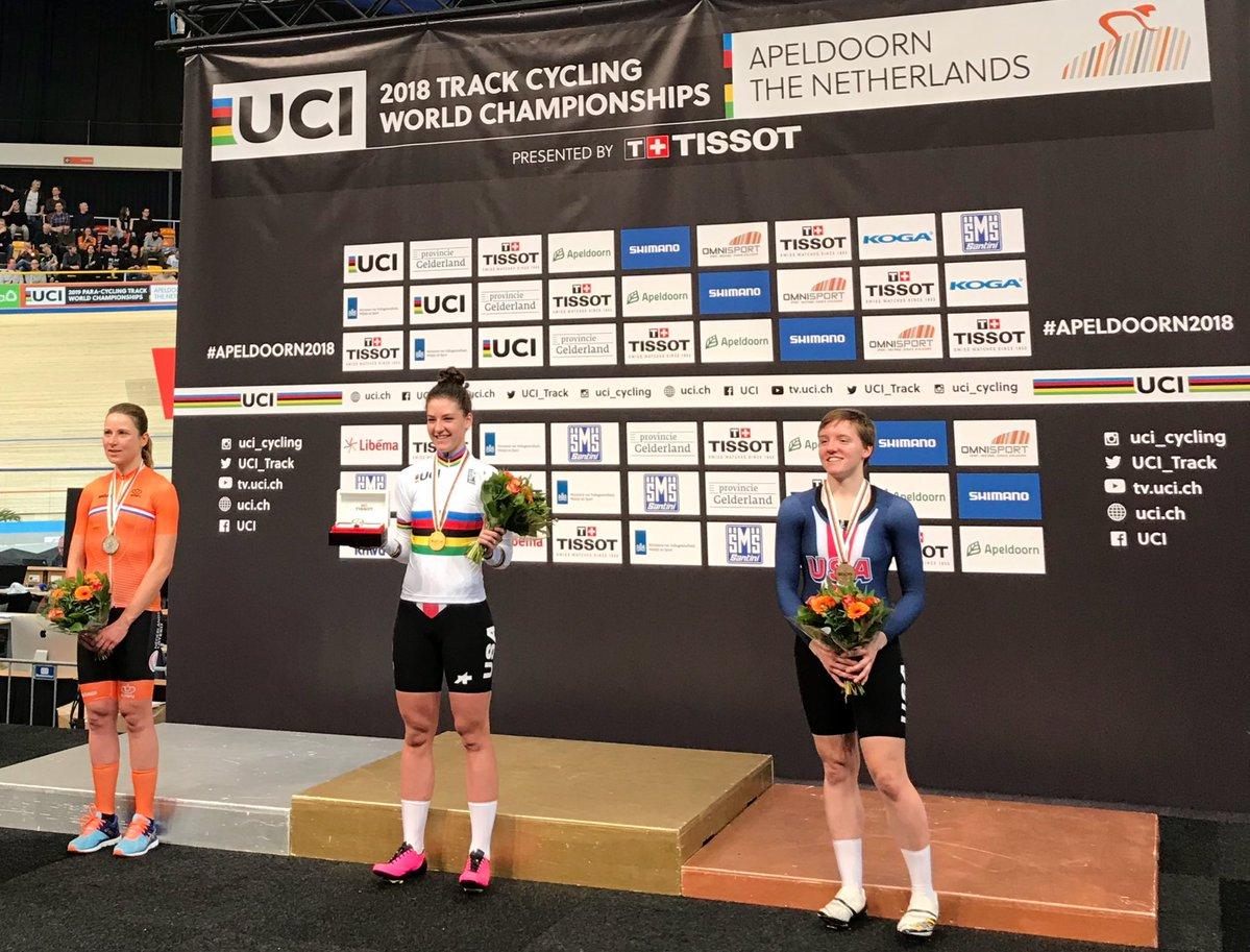 Il podio dell'inseguimento femminile al Mondiale di Apeldoorn