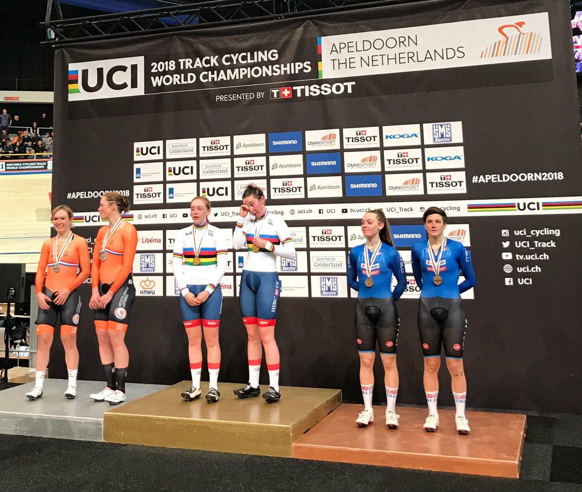 Il podio del Mondiale Madison femminile di Apeldoorn