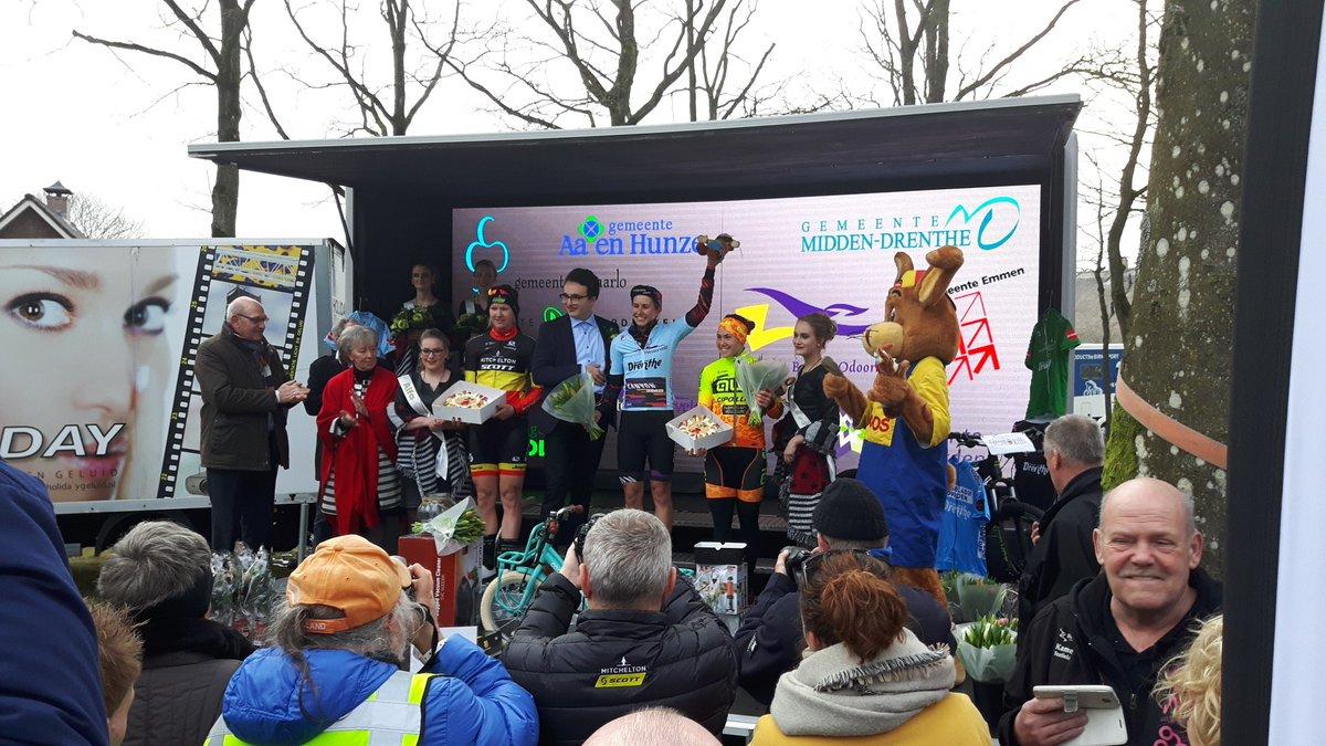 Il podio della Drentse Acht van Westerveld 2018 vinta da Alexis Ryan