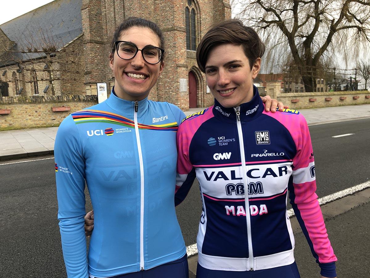 Confalonieri ed Elisa Balsamo con la maglia di leader della classifica giovani dell'UCI World Tour