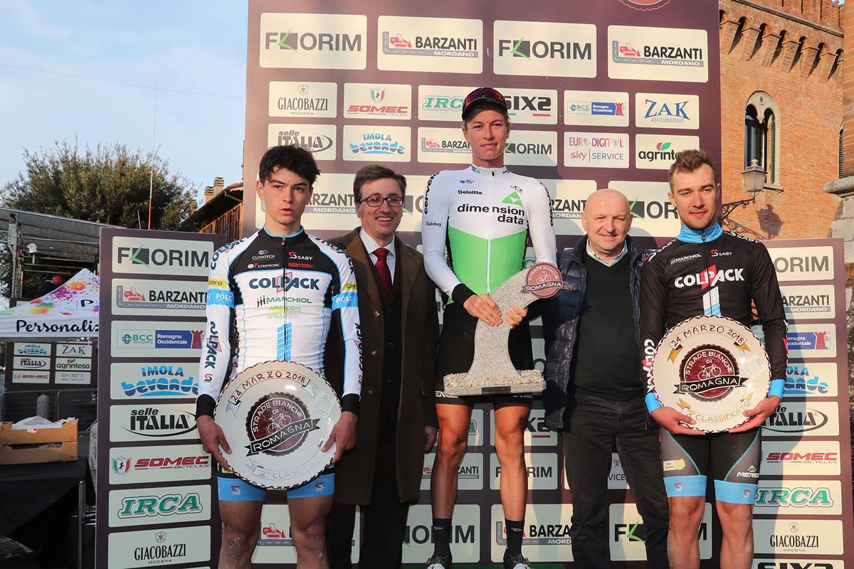 Il podio della Strade Bianche di Romagna 2018