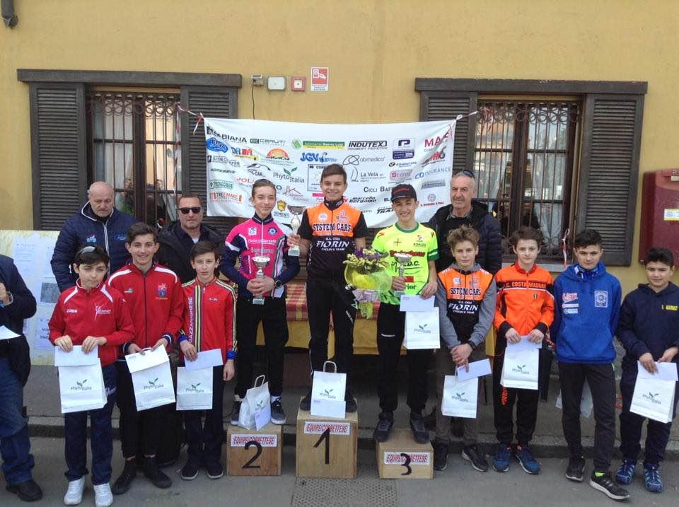 Il podio della gara Esordienti 1° anno di Corbetta