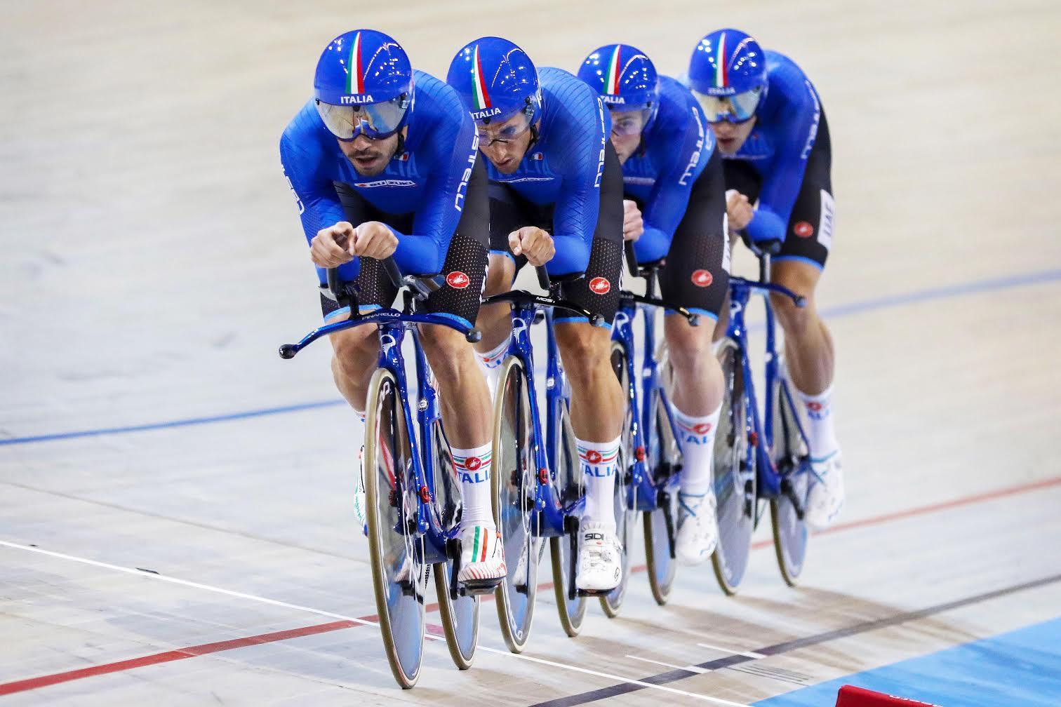 Il quartetto azzurro maschile in azione ad Apeldoorn