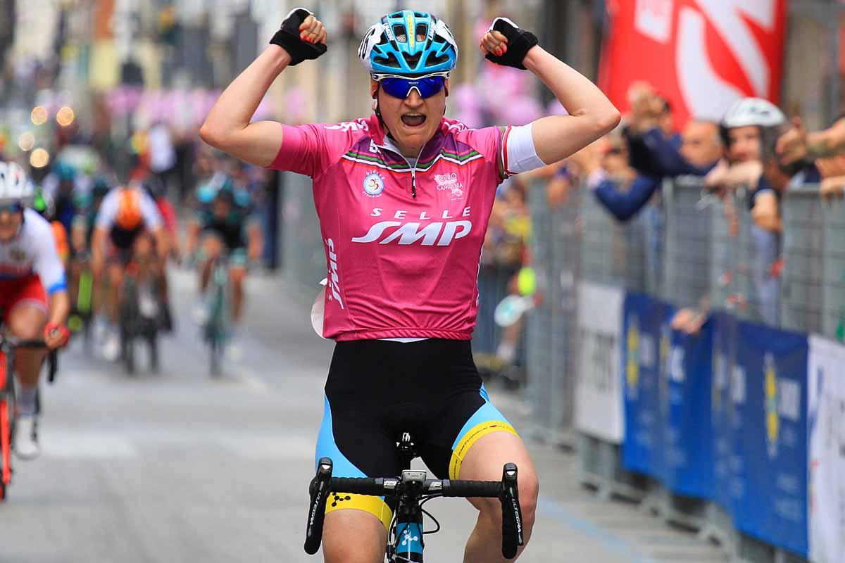 La vittoria di Elena Pirrone a Mercato San Severino nella 2/a prova del Giro della Campania in Rosa 2018