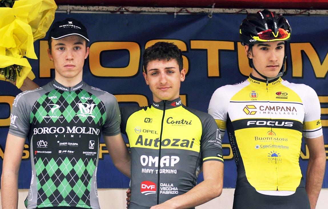 Il podio della gara Juniores di Altivole