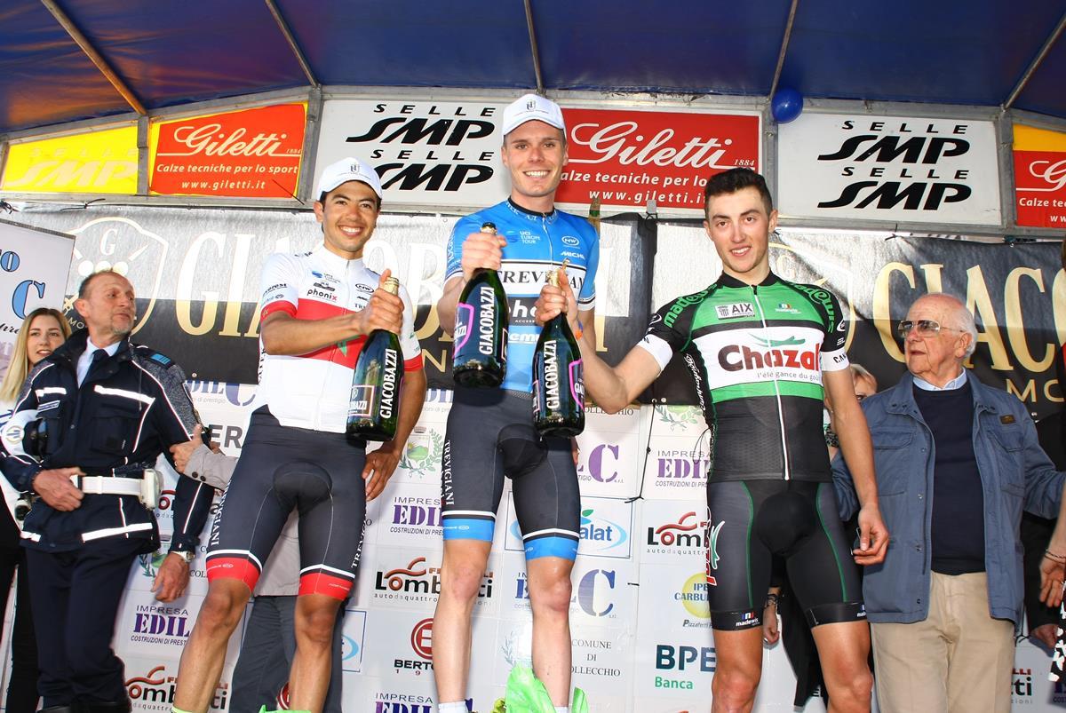 Il podio del Circuito del Termen a Cimetta di Codognè vinto da Leonardo Fedrigo