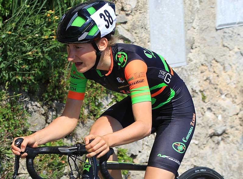 Elena Franchi in azione nella cronoscalata Amalfi-Ravello