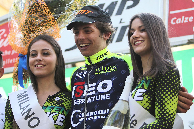 Matteo Furlan felice per la vittoria alla Milano-Busseto 2018