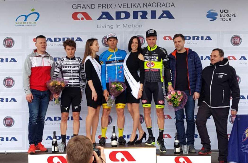 Il podio del Gp Adria Mobil 2018 vinto da Filippo Fortin