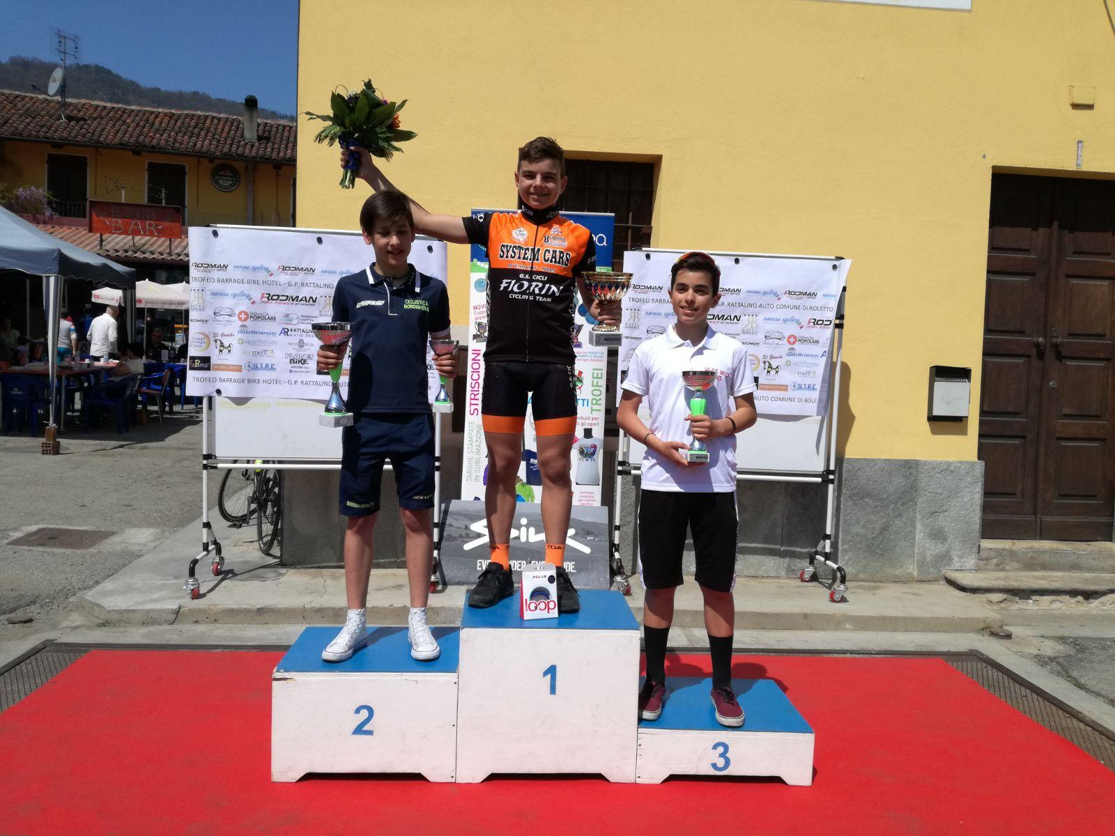 Il podio della gara Esordienti 1° anno di Roletto