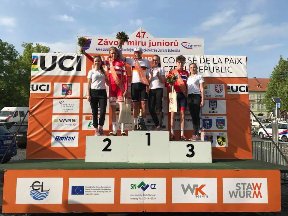 Il podio della prima tappa della Corsa della Pace Juniores