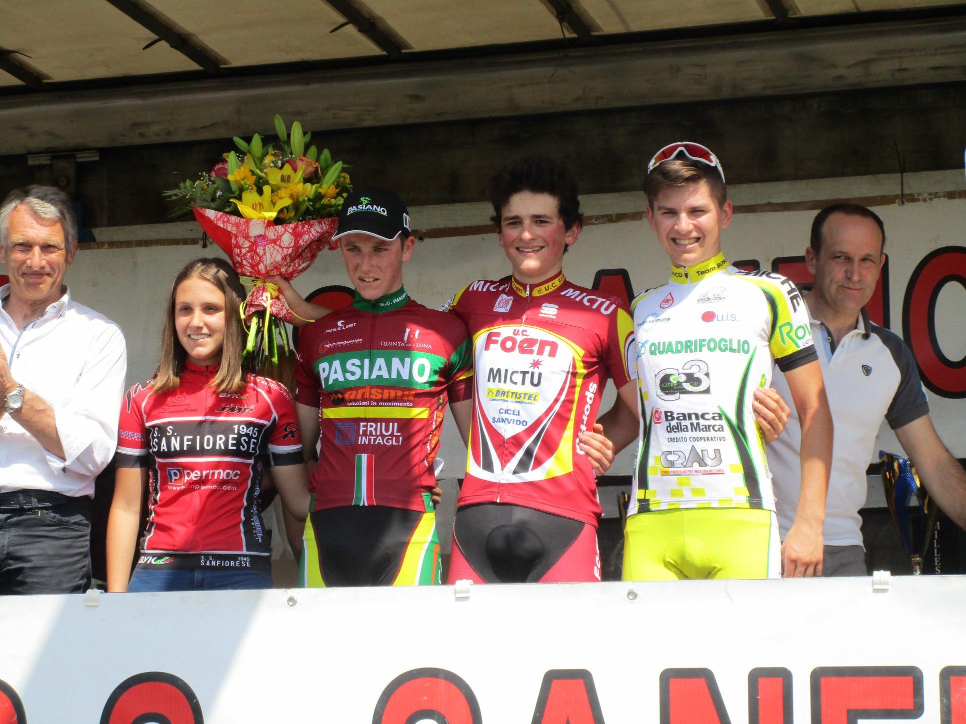 Il podio della gara Allievi di Castello Roganzuolo vinta da Daniel Cassol