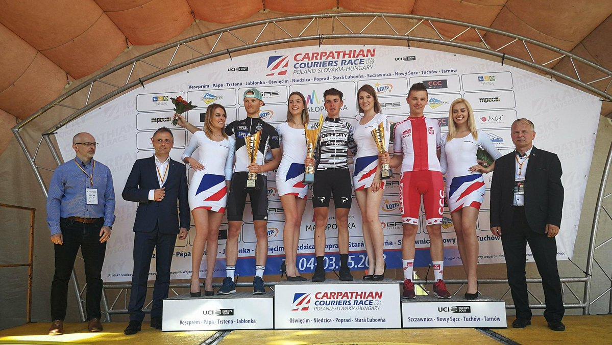 Il podio della sesta tappa del Carpathian Couriers Race vinta daMattia Bais