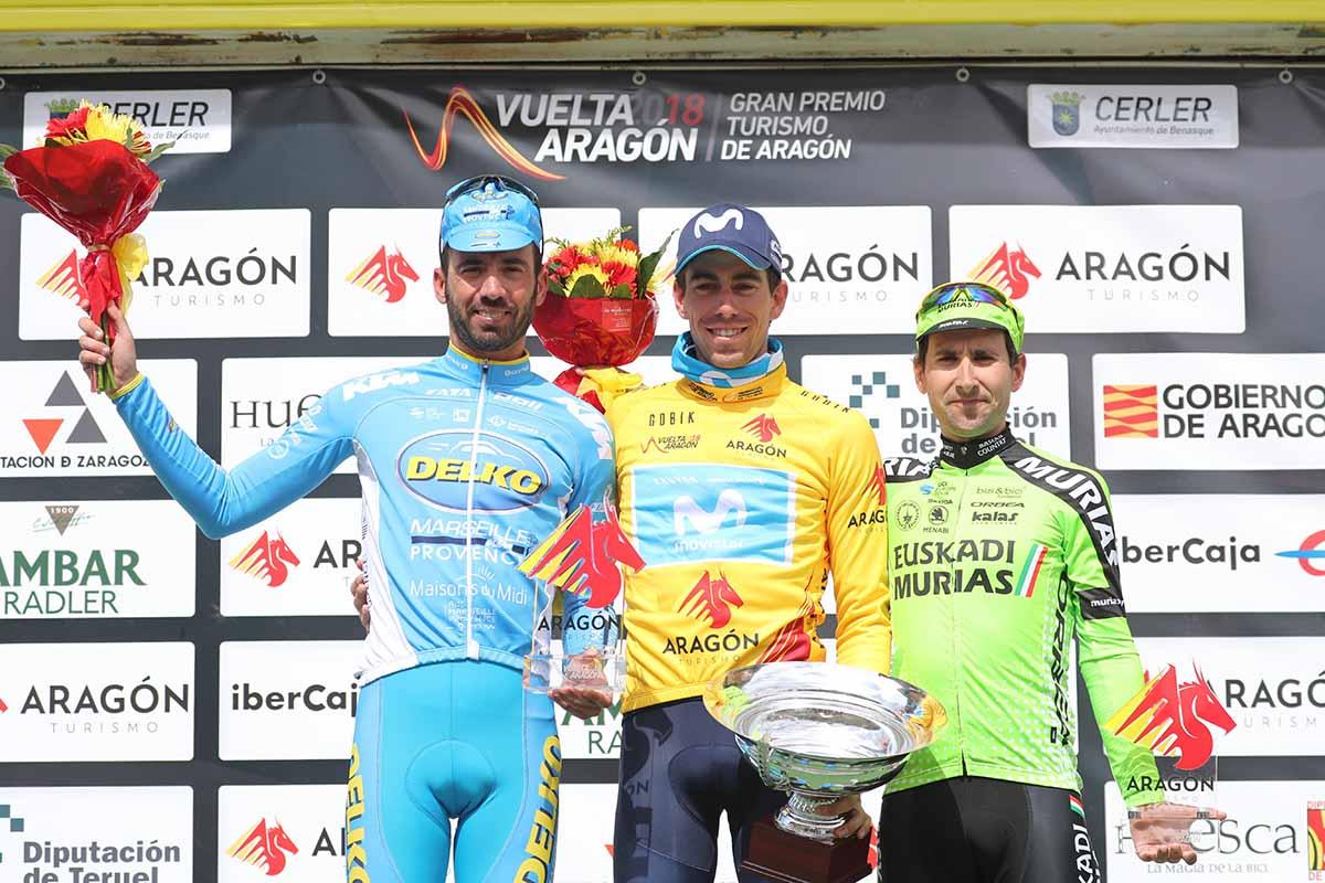 Il podio finale della Vuelta Aragon vinta da Jaime Roson