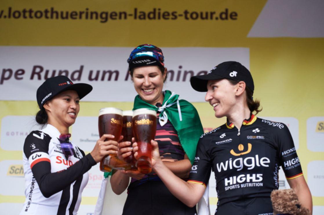 Il podio della seconda tappa del Lotto Thuringen Ladies Tour 2018
