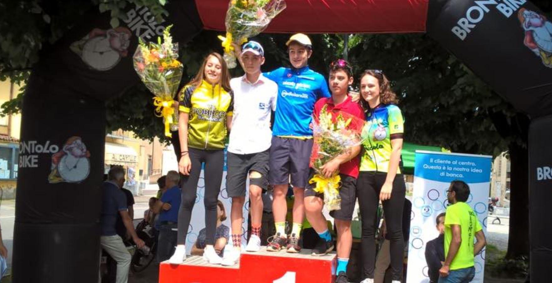 Il podio della gara Allievi di Robecco sul Naviglio vinta da Massimiliano Pini