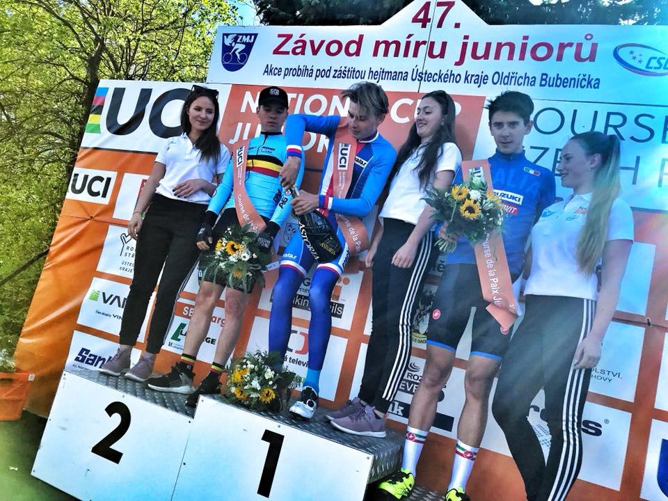 Il podio della terza tappa della Corsa della Pace 2018
