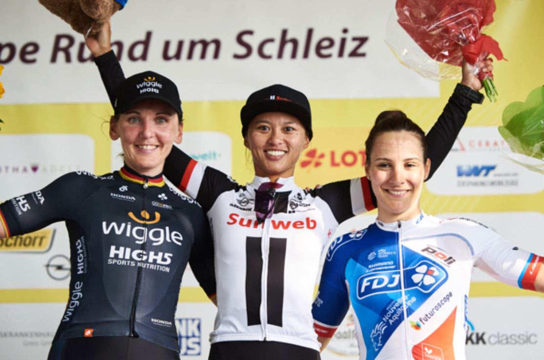 Il podio della terza tappa del Lotto Thuringen Ladies Tour 2018