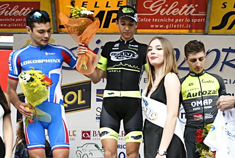 Il podio del Gp del Roero vinto da Andrea Piccolo