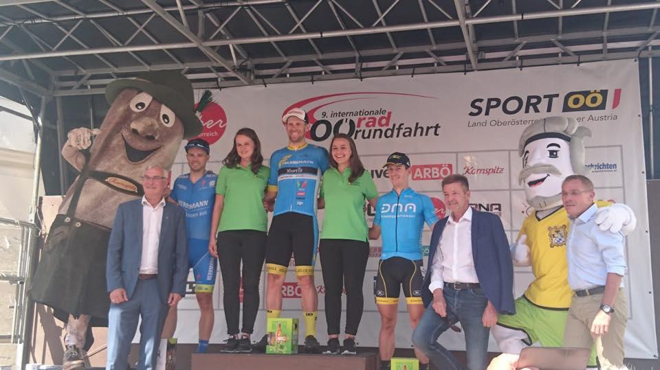 Il podio della seconda tappa del seconda tappa dell'Oberösterreichrundfahrt